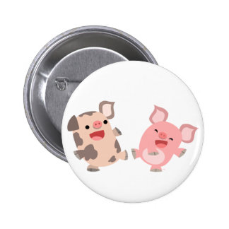 Cute Dancing Cartoon Pigs Button Badge