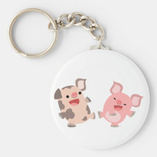 Cute Dancing Cartoon Pigs Keyring Keychain