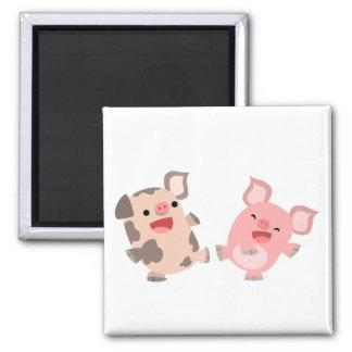 Cute Dancing Cartoon Pigs Magnet