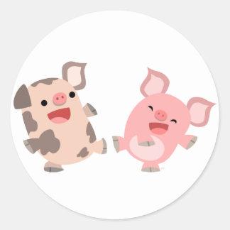 Cute Dancing Cartoon Pigs Sticker