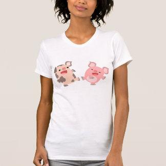 Cute Dancing Cartoon Pigs Women T-Shirt