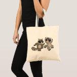 Cute Dancing Cartoon Raccoons Tote Bag