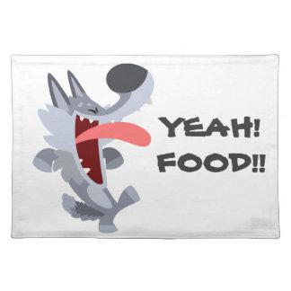 Cute Dancing Cartoon Wolf Placemat Cloth Place Mat