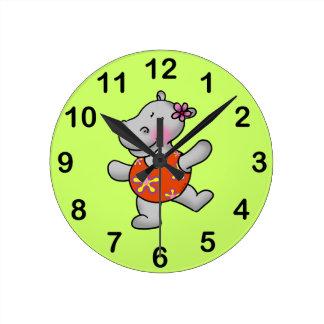 Cute dancing hippo wall clocks