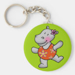 Cute dancing hippo in swimming suit basic round button keychain