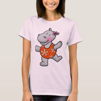 Cute dancing hippo in swimming suit T-Shirt