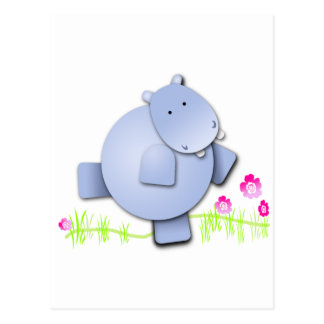 Cute Dancing Hippo Postcard