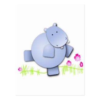 Cute Dancing Hippo Postcard