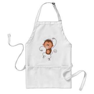 Cute Dancing Monkey Adult Apron