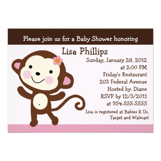 cute dancing monkey girl baby shower invitation 5 x 7 invitation