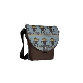 Cute dancing monkey pattern, blue, brown courier bag