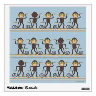 Cute dancing monkeys pattern, boy's room room graphic