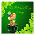 Cute Dancing Mouse St. Patrick's Day Party Personalized Invitations