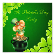 Cute Dancing Mouse St. Patrick's Day Party Invitation