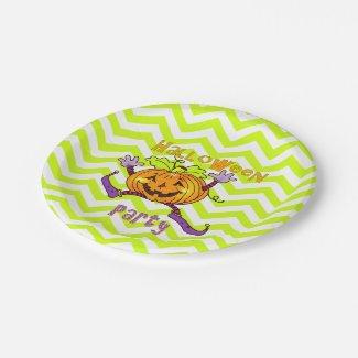 Cute Dancing Pumpkin Zigzags Halloween Party Paper Plate