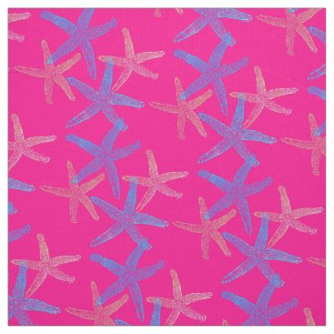 Beach Themed Cute Dancing starfish star fish pink purple blue Fabric