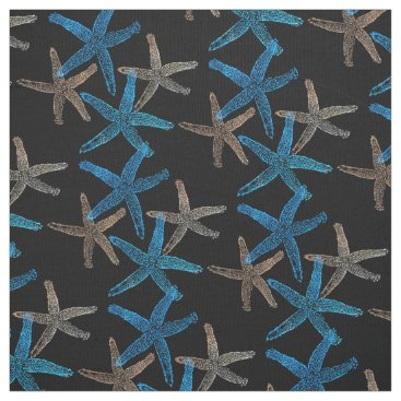 Beach Themed Cute Dancing starfish star fish taupe blue white Fabric