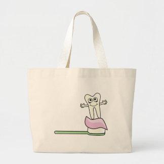Cute Dancing Tooth on Toothbrush Large Tote Bag