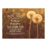 cute dandelion blossoms rustic bridal shower custom announcements