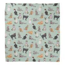 Cute Dapper Kitties Cat Pattern Bandana