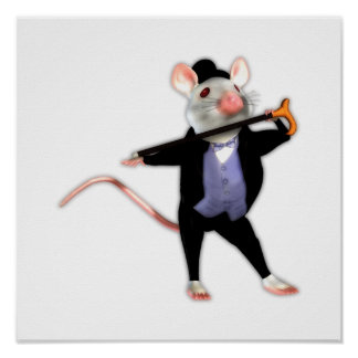 Cute Dapper Mouse, the Dancing Cartoon Mouse Poster