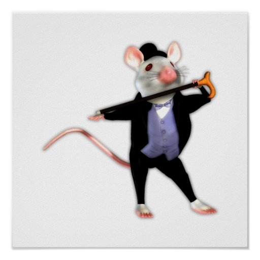 Cute Dapper Mouse, the Dancing Cartoon Mouse Posters
