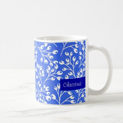 Cute dark blue and white autumn berries coffee mug