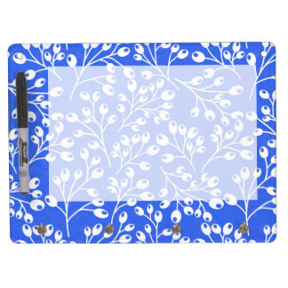 Cute dark blue and white autumn berries dry erase board with keychain holder