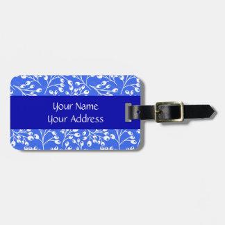 Cute dark blue and white autumn berries travel bag tag