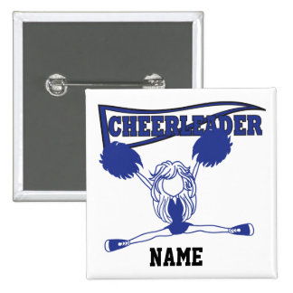 Cute Dark Blue Cheerleader Girl | DIY Name Button