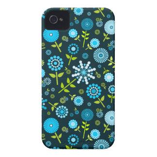 Cute dark blue spring flowers iPhone 4 cover