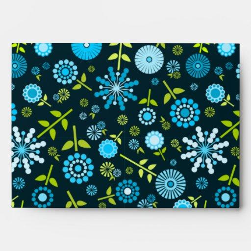 Cute dark blue spring flowers envelope