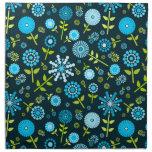 Cute dark blue spring flowers napkin
