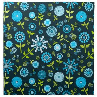 Cute dark blue spring flowers cloth napkins