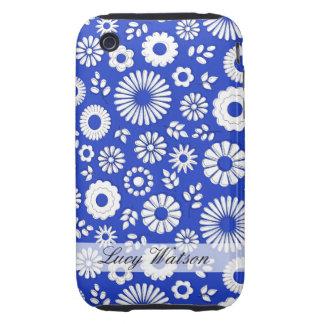 Cute dark blue summer flowers tough iPhone 3 covers