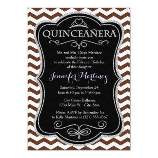 Cute Dark Brown and White Chevron Stripes 4.5x6.25 Paper Invitation Card