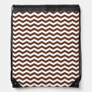 Cute Dark Brown and White Chevron Stripes Cinch Bags