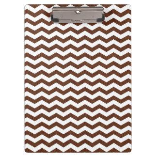 Cute Dark Brown and White Chevron Stripes Clipboard