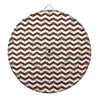 Cute Dark Brown and White Chevron Stripes Dartboard With Darts