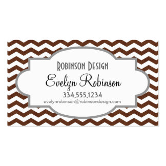 Cute Dark Brown and White Chevron Stripes Double-Sided Standard Business Cards (Pack Of 100)