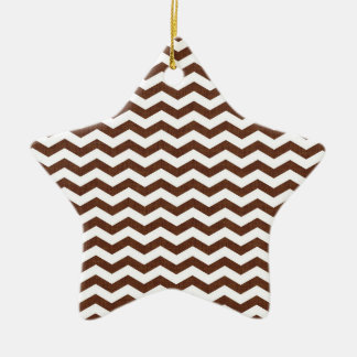 Cute Dark Brown and White Chevron Stripes Double-Sided Star Ceramic Christmas Ornament