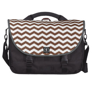 Cute Dark Brown and White Chevron Stripes Bag For Laptop
