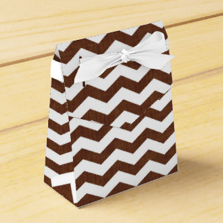 Cute Dark Brown and White Chevron Stripes Party Favor Boxes