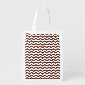 Cute Dark Brown and White Chevron Stripes Reusable Grocery Bag