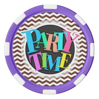 Cute Dark Brown and White Chevron Stripes Set Of Poker Chips