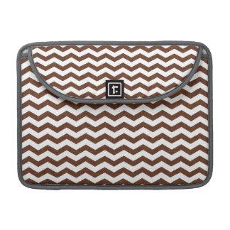 Cute Dark Brown and White Chevron Stripes Sleeves For MacBooks