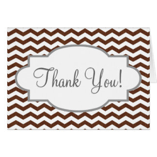 Cute Dark Brown and White Chevron Stripes Stationery Note Card