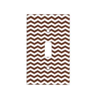 Cute Dark Brown and White Chevron Stripes Switch Plate Covers
