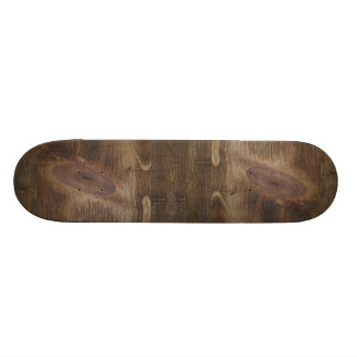 Cute Dark Brown Rustic Knotty Wood Look Background Custom Skate Board