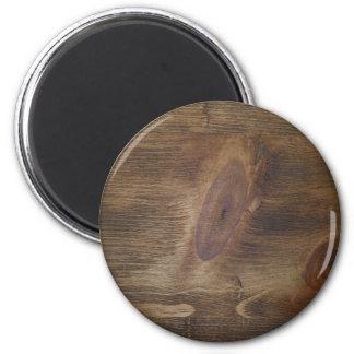 Cute Dark Brown Rustic Wood Look Background 2 Inch Round Magnet